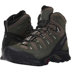 Salomon Quest Prime GTX (Swamp/Night Forest/Titanium) Men's Shoes ($190) ❤ liked on Polyvore featuring men's fashion, men's shoes, mens lightweight running shoes, mens waterproof shoes, mens hiking boots, mens breathable shoes and mens lace up shoes