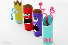 Toilet Paper Roll Crafts: Recycled Monster Treat Holders // Monstruos de papel higiénico