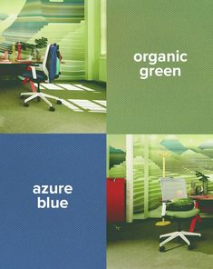 azure blue or organic green? Coworking Space, Easy, Meet, Organic, Blue, Design, Modern Office Spaces, Modern Living, Workplace
