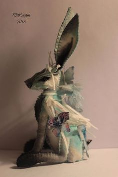 OOAK cloth sculpture rabbit fantasy