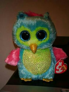 """Ty 6"""" Blue & Green Owl with Pink Wings Beanie Baby Boo's ~ 2013 NEW ~Exclusive"""