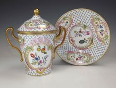 Antique Continental Porcelain Hot Chocolate Cup Saucer