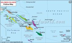 Large detailed physical map of Solomon Islands with all cities and