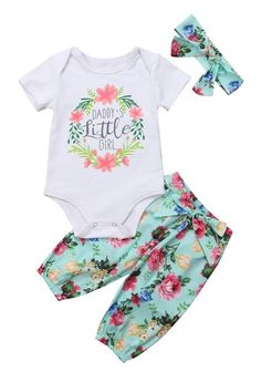 f40166ae7c24 Floral Daddy s Girl Outfit. Kicking Kangaroo. Cute Baby Clothes ...