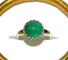 Green Agate Ring Sterling Silver Gemstone by JewelrybyDecember67, $62.00