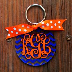 Chevron Monogram Key Chain in Royal and Orange (Auburn/Florida Gators Colors!) - $10