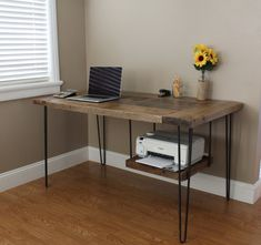 Reclaimed Oak modern desk- This reclaimed oak desk features hairpin legs and a hanging printer shelf. Custom built by Timber & Soul: Wood top with metal legs Modern Office Desk, Home Office Space, Home Office Desks, Home Office Furniture, Office Decor, Diy Furniture, Furniture Refinishing, Small Office Desk, Wood Office Desk