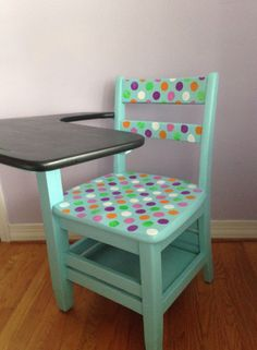 Old school desk refresh, painted with colorful polka dots and chalkboard paint from Michaels Craft Store.