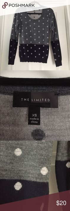 Womens The Limited Sweater Womens The Limited Sweater, Size XS, Color: Navy Blur and Dark Gray with Light Gray/White Polka Dots The Limited Sweaters Crew & Scoop Necks