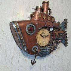 Steampunk Clock, Wood Watch, Fish, Accessories, Style, Steampunk Watch, Wooden Clock, Swag, Pisces
