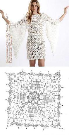 Красивый мотив крючком ... для изысканного платья-туники.