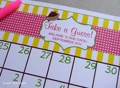 Printable Due Date Calendar // Baby Shower Game // by Sweet Sanity Designs Due Date Calendar, Baby Shower Games, Baby Showers, I Want A Baby, Man Shower, Sprinkle Shower, Baby Pool, Baby Shower Invitations, Boy Or Girl