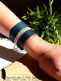 """Bracelet OMAHA Océan bleu (cuir dentelle chaine) - Collection 2014/2015 """"L'été Indien"""" : Bracelet par zaelleza"""