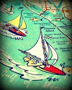 ST PETERSBURG vintage beach map print 11x14 by VintageBeachMaps, $44.00