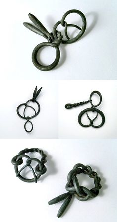 hand-forged iron pretzel rings by French metalsmith Sophie Hanagarth