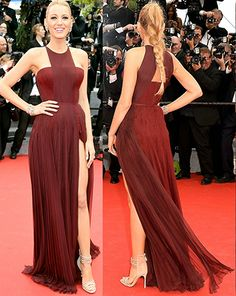 geometric neck thigh-high slit fully pleated dress Inspired by Blake Lively at Cannes Film Festival 2014.prom dresses,formal dresses,ball gown,homecoming dresses,party dress,evening dresses,sequin dresses,cocktail dresses,graduation dresses,formal gowns,prom gown,evening gown.