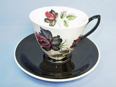 Vintage ROYAL ALBERT MASQUERADE Black and White Tea Cup and Saucer Bone China