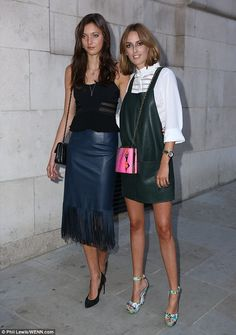 Leather-clad: Lady Alice Manners and Lady Violet Manners slipped into their leather for the event