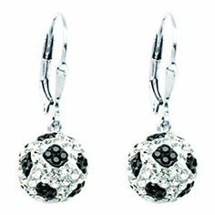 Sterling Silver Sports Bon Soccer Ball 8mm Crystal Leverback Earrings Jewelry Megastore. $32.00