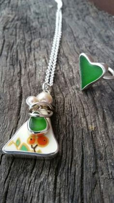 Seaglass Jewellery. Mother and Child and Lve Heart Ring