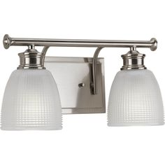 Progress Lighting Lucky 2-Light 7.625-in Brushed Nickel Dome Vanity Light