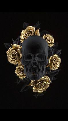 Happy Birthday Skull Images Awesome Skull Art by Uk Artist Billelis Black and Gold Skull Gold Skull, Black Skulls, Bijou Geek, Black And Gold Aesthetic, Totenkopf Tattoos, Skull Pictures, Or Noir, Skull Artwork, Bild Tattoos