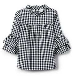 Online Exclusives Navy Gingham Gingham Ruffle Top by Janie and Jack New Fashion Clothes, Kids Fashion, Baby Dress Design, Janie And Jack, Little Girl Dresses, Shirts For Girls, Blouse Designs, Gingham, Kids Outfits