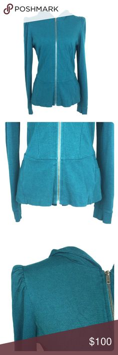 "Betsey Johnson Peplum Bow Hooded Jacket Low bow on back of jacket.Zip up.This jacket is a teal color(stock photo for color/style reference). Length: 25.5"" Bust(when zipped): 18"" Sleeve: 27"". Size Large. Betsey Johnson Jackets & Coats"