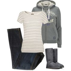 A fashion look from December 2014 featuring striped short sleeve shirt, grey hooded sweatshirt and aeropostale skinny jeans. Browse and shop related looks.