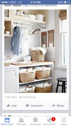 Once a tiny bedroom, the laundry room houses a touch of Tere's own history—her grandmother's washboards. The baskets are from Kmart and World Market. will be my laundry room some day Laundry Room Organization, Laundry Room Design, Laundry In Bathroom, Laundry Rooms, Mud Rooms, Laundry Baskets, Laundry Area, Laundry Sorting, Laundry Storage
