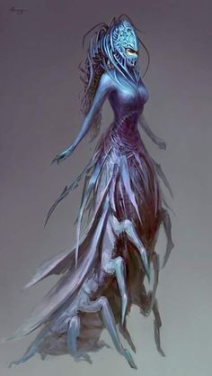 a change in direction… and an art feature! Female Monster, Fantasy Monster, Creature Concept Art, Creature Design, Fantasy Creatures, Mythical Creatures, Sea Creatures, Fantasy Characters, Female Characters