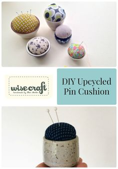 A great gift for the sewer in your life, upcycled pin cushions from thrift store ceramic cups