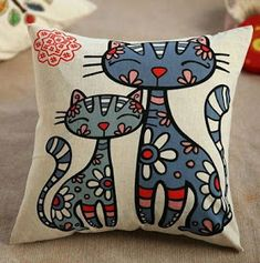 Classic Cotton Linen Cushion Cover Throw Pillow Case Home Decor Cat Cushion, Cushion Covers, Throw Pillow Cases, Throw Pillows, Cover Pillow, Funky Cushions, Scatter Cushions, Cute Bedding, Cat Quilt