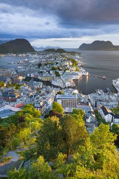 Overview of Alesund from viewpoint on Aksla.