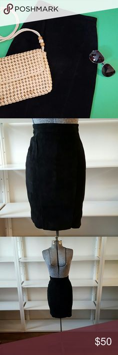 Vintage CHIA Black Suede Mini Skirt Vintage CHIA black suede pencil mini skirt. Has button and zipper closure in back and a 6 inch slit in back. 100% suede leather with nylon lining. Vintage size 2 but fits more like a size 0. See measurements. Please note that it is too small for my mannequin so the zipper is not fully zipped in the pics. Fantastic vintage  condition with slight unevenness to suede as expected with age.   Measurements laying flat in inches  Waist 11.25 Hips 15 Length 22  No…