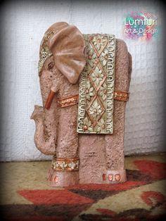 Elefante alto cobre 22x13 cm Eco Friendly, Burlap, Elephant, Reusable Tote Bags, Crafts, Ideas, Design, Buddha Decor, Copper