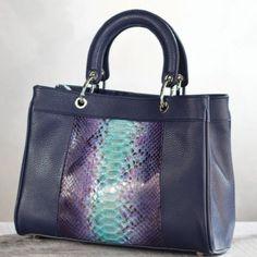 Purple Florentine Python Leather Handbag