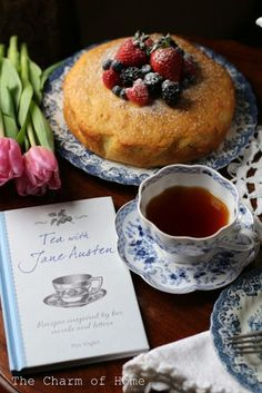 """I love that tea set! Tea with Jane Austen: The Charm of Home. """"inspired by the novels and letters of Jane Austen. In this book are recipes for cakes and pastries based on authentic recipes from the Regency era which have been updated for the modern cook. Jane Austen, Tee Sandwiches, Finger Sandwiches, Café Chocolate, Tea And Books, Cuppa Tea, Tea Cakes, My Tea, Tea Recipes"""