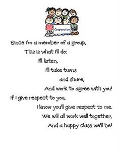Cooperation poem.   Love this poem.  I'll have to think on if it would be okay for third grade.