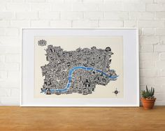 A1 Typographical map of London  ivory paper typography by glpHQ