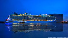 Anthem of the Seas in the night - February 2015  - Cruise Ships from Papenburg / Germany