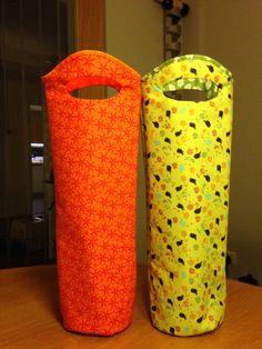 Bottle holders using fat quarters.