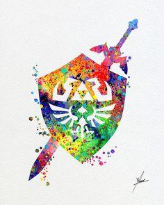 Legend of Zelda Master Sword Hylian Shield by PainterlyDots