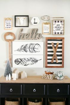 Black & White Christmas Entryway Decor