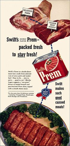 """https://flic.kr/p/bAruSB   Prem Canned Meat Ad, 1952   Did people genuinely get excited at the prospect of Lent being over so they could, uh... """"indulge"""" in this sort of thing again?  From the April issue of Everywoman's magazine."""