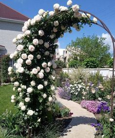 Flower arch on the site. Someone has golden hands . Like the photo - put . Garden Yard Ideas, Garden Projects, Diy Garden Fountains, Garden Landscape Design, Garden Structures, Front Yard Landscaping, Garden Planning, Dream Garden, Beautiful Gardens