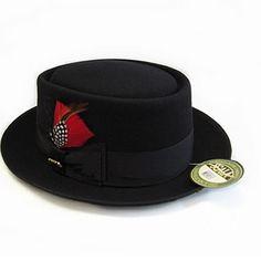 Black Wool Winter Fashion Dress Pork Pie Hats for Men SKU-159015