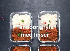 Tandoorigryta med linser Meal Prep, Food Prep, Mashed Potatoes, Vegetarian Recipes, Goodies, Lunch, Eat, Ethnic Recipes, Vegans