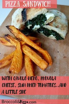 Pizza Sandwich with Cavolo nero, Provola Cheese, Sun dried tomatoes. Pizza And More, How To Make Pizza, Broccoli Pizza, Becoming A Chef, Pizza Sandwich, Piece Of Bread, Melted Cheese, Sun Dried