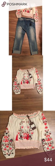 NWT Chelsea & Violet Embroidered Smock NWT Chelsea & Violet never worn top features: * woven fabrication * boat neckline * long sleeves * embroidery detail * pullover construction * cotton * ... Chelsea & Violet Tops Blouses